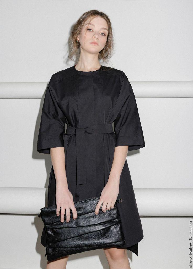 Купить Черное платье-рубашка - черный, однотонный, платье, платье рубашка, платье дизайнерское