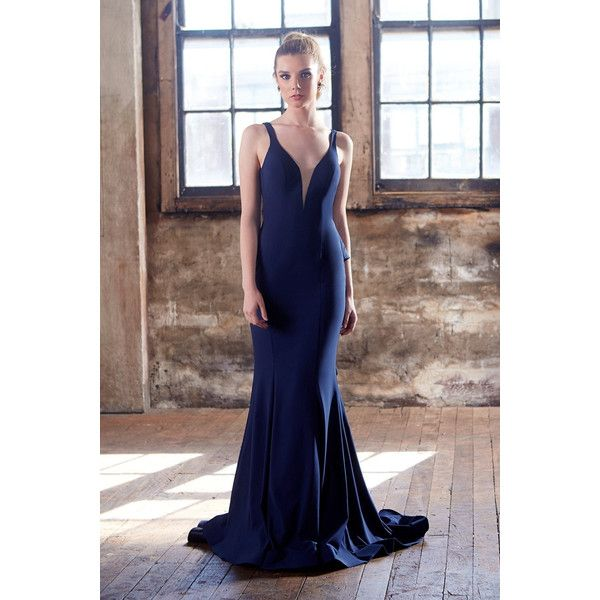 Tinaholy couture t1708 navy blue deep v neckline w a drape back formal... ($399) ❤ liked on Polyvore featuring dresses, gowns, navy gown, navy blue formal gown, formal ball gowns, navy blue formal dress and navy evening gown
