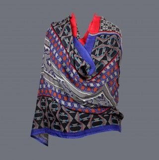 Featuring this beautiful Blue & Pink Wool Stole in our wide range of Stoles. Grab yourself one. Now!