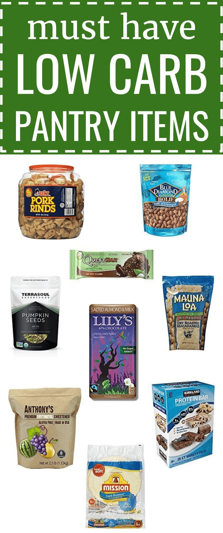 Low carb pantry stuffers, items, and products for a healthy keto lifestyle. stap...