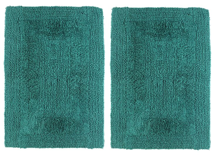 Cotton Craft 2 Piece Reversible Step Out Bath Mat Rug Set 17x24 Teal, 100% Pure Cotton, Super Soft, Plush & Absorbent, Hand Tufted Heavy Weight Construction, Full Reversible, Rug Pad Recommended