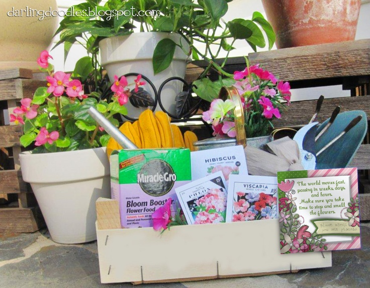 gift basket for a gardener gardening tools gloves seeds fertilizer watering can plants