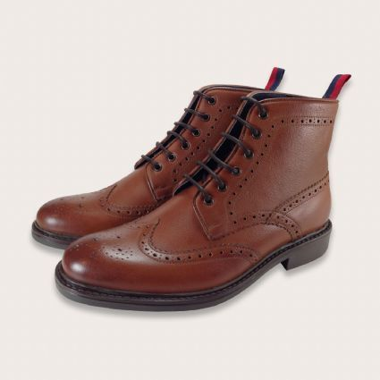Tan Leather Lace Up Brogue Boots - Mens Boots Online - Hoxton | Coogan London