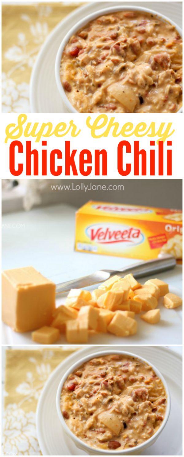 cCheesy Velveeta chicken chili, easy and full of flavor! | lollyjane.com