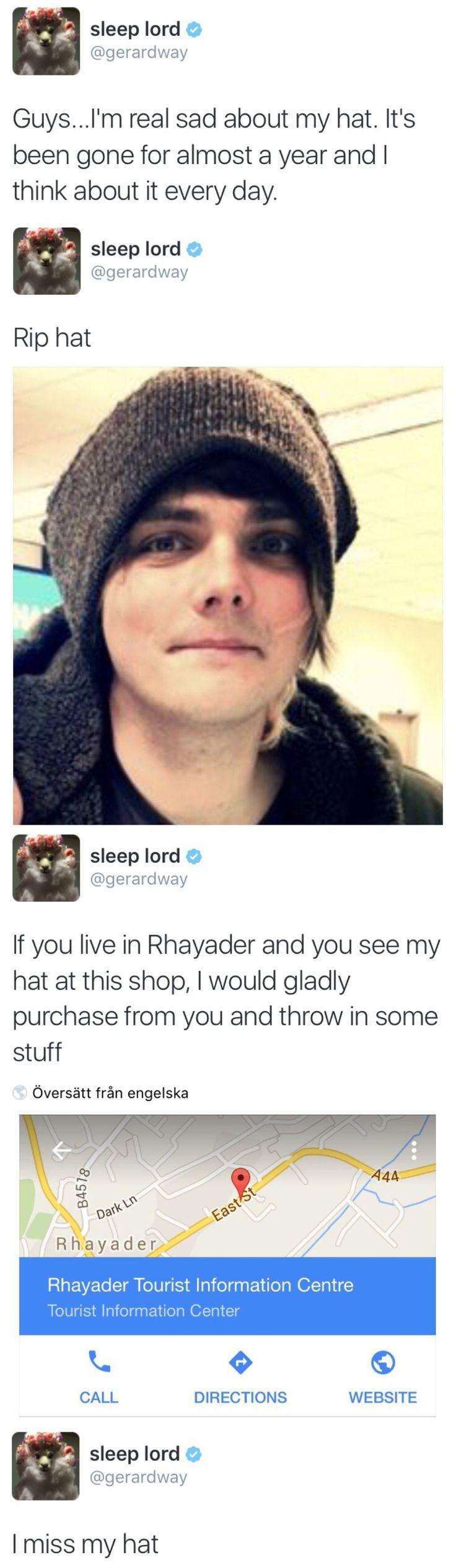 it's okay, gerard. I miss your hat too  #RePin by AT Social Media Marketing - Pinterest Marketing Specialists ATSocialMedia.co.uk
