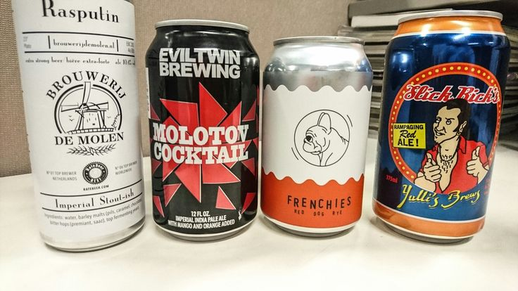 Few cans for the fridge on this Monday afternoon, Sydney time   1) Rasputin Imperial Stout, 10.4%. Brouwerij De Molen, Netherlands. These guys know how to make a great beer  2) Molotov Cocktail, Imperial India Pale Ale with mango & orange added, 12%. Evil Twin Brewing Co, Stratford Connecticut. Last can in the shop, so I thought I better grab it.  3) Red Dog Rye, 6.2%. Frenchies Bistro & Brewery, Roseberry, Sydney Australia  4) Slick Rick's Rampaging Red Ale, 6.2%. Yulli's Brews, Surry…