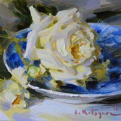 "Daily+Paintworks+-+""Yellow+Rose+on+Blue""+-+Original+Fine+Art+for+Sale+-+©+Elena+Katsyura"