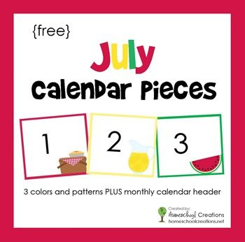 July Pocket Chart Calendar Pieces - Freebie Printable ...