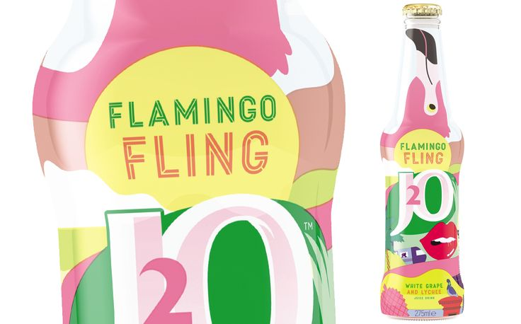 J2O - limited edition tropical flamingo bottle http://www.foodbev.com/news/britvic-launches-limited-edition-tropical-flamingo-j2o/
