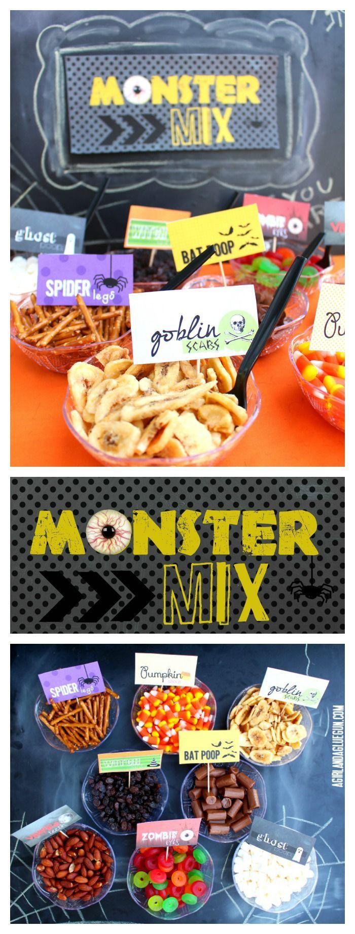 monster (trail) mix bar from agirlandagluegun.com #halloweentreat #freeprintable…