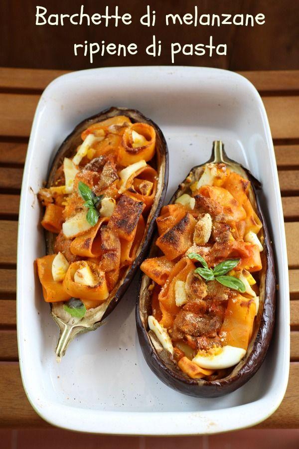 La Cucina dello Stivale: Barchette di melanzane ripiene di pasta