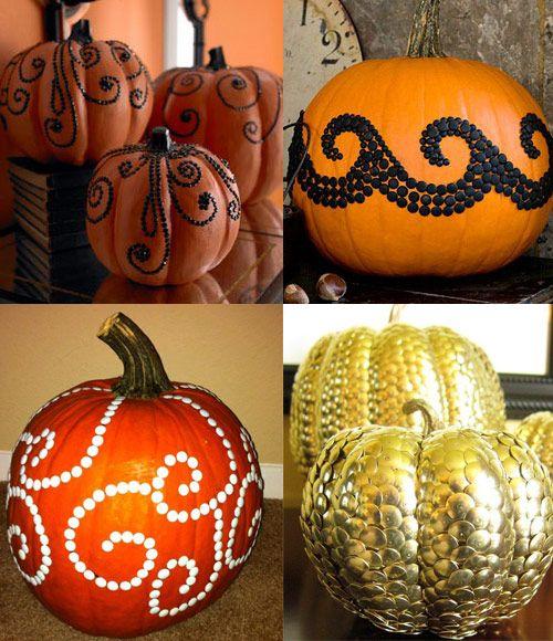 decorate pumpkins with colored thumbtacks.