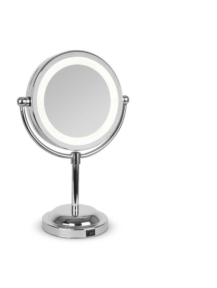 Round Chrome Free Standing Light Up Mirror