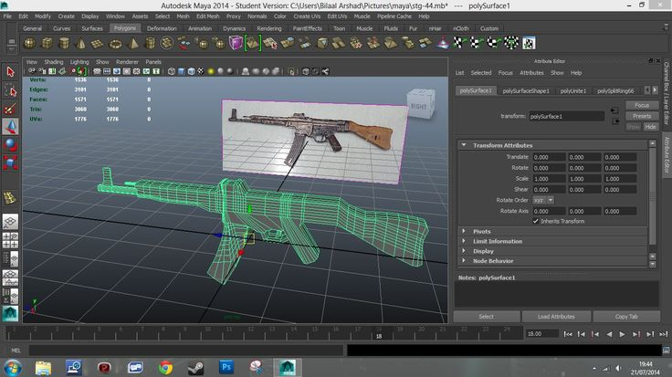 This is my STG-44 assault rifle model with a referenced picture on (Bilaal Arshad, 2014)