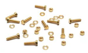 Beaducation: Mini Brass Hex Nuts, Washers and Bolts, 1/4, 10 sets [BM118]