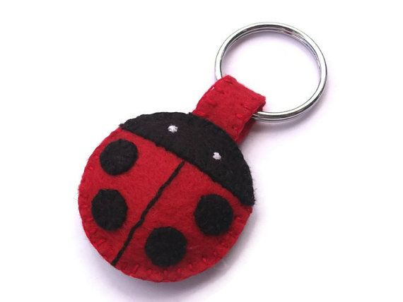 Plush ladybug keychain, felt key ring, cute lady bug zipper pull, stuffed key chain