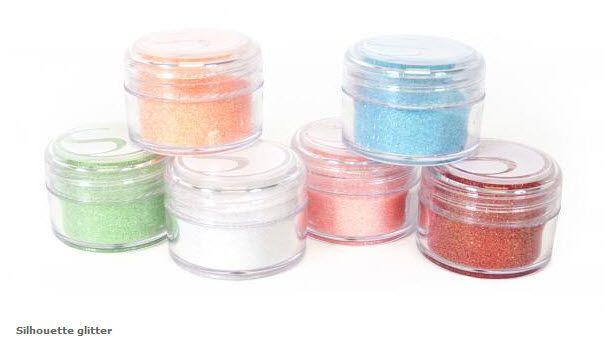 6 Jars Silhouette Glitter - coral, strawberry, white, mint, peach, aqua  http://www.scrapbookexpress.com