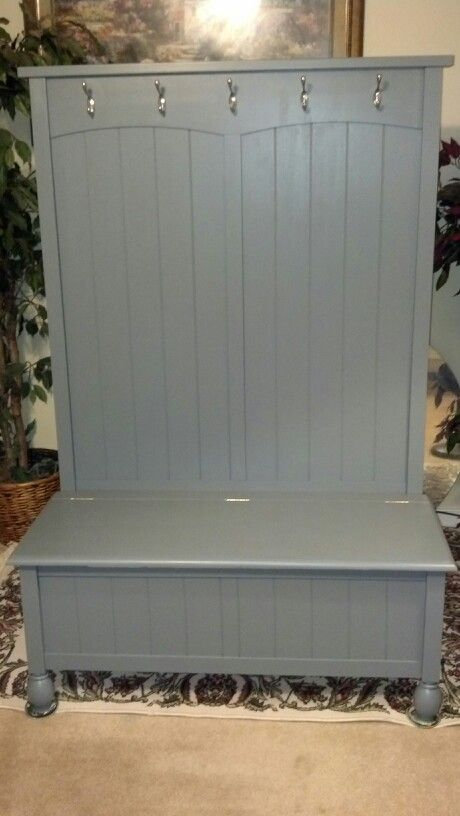 I took a modern hall tree bench and gave it an even newer look...Ironstone Grey paint is a beautiful color....in different lighting it has a blue undertone...will be available at Blackstone Antiques and Crafts Mall....$230.00
