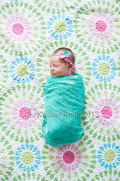 Aqua Blue Cheesecloth Baby Wrap Photo Prop(COMeS With How-To ViDEo FoR SWaddLiNG) Egg, Maternity, For Family or Baby Portrait Sessions