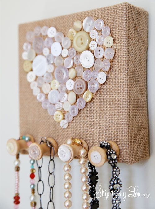 Burlap and Vintage Button Jewelry Holder
