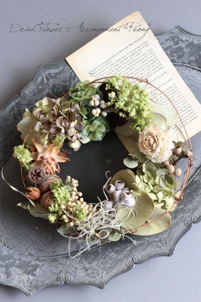 クルミの森のリース - ドライフラワーリース/ウェルカムボード/ ウェルカムリース  Dried Flower Arrangement ''Peony'' ピオニー