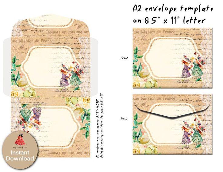 set of 4 beautiful vintage a2 envelope templates