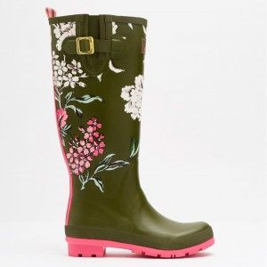 Joules Welly Print Grape Leaf Floral Wellies #gardening #floral #print #wellies #rainboots #christmas #gift #giftsforher #green