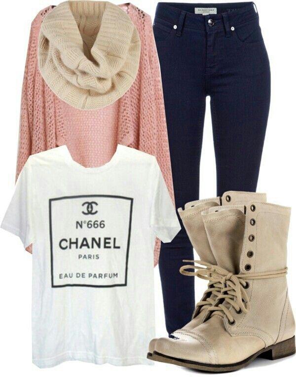 Chanel white shirt, pink sweater cardigan, cream scarf ...