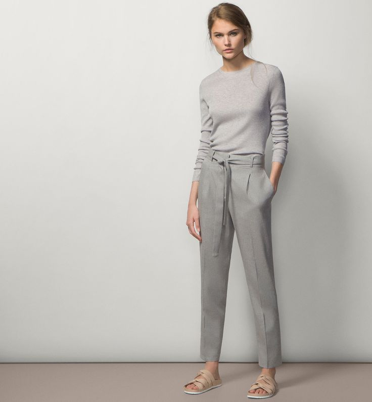 HIGH WAIST LOOSE-FIT TROUSERS - Trousers - WOMEN - United States - Massimo Dutti