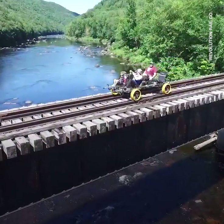 Pedal and explore the Adirondacks on a railbike.   VIDEO ▶ https://www.facebook.com/BikeRoar/videos/1393022424079923/?utm_content=buffer71c64&utm_medium=social&utm_source=pinterest.com&utm_campaign=buffer.   #railbiking #cycling #railroad #bicycle #adventure #bike #Adirondacks