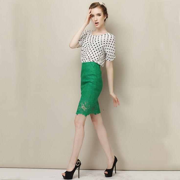 Summer OL Polka Dot Batwing Top Blouse + Green Pencil Short Skirt Career