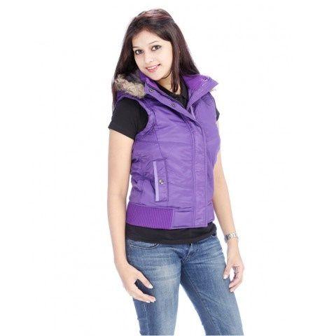 Duke Women Stylish Collar Purple Jacket