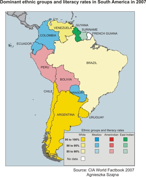 South America Illiteracy Rates Map maps geography Pinterest