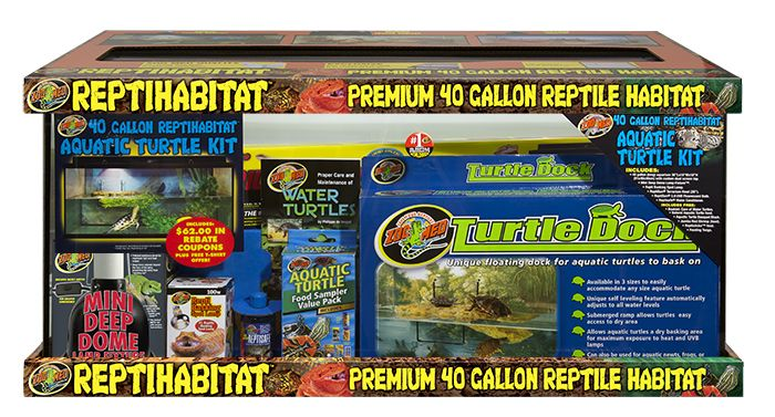 Zoo Med S New 40 Gallon Reptihabitat Aquatic Turtle Kit