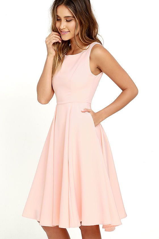 A happy tune just might pop into your head when you see the Sweetly Sung Peach Midi Dress! Slightly stretchy woven fabric passes over a bateau neckline, and into a sleeveless bodice with princess seams. Fitted waist opens to a full midi skirt with side seam pockets. Hidden back zipper with clasp.