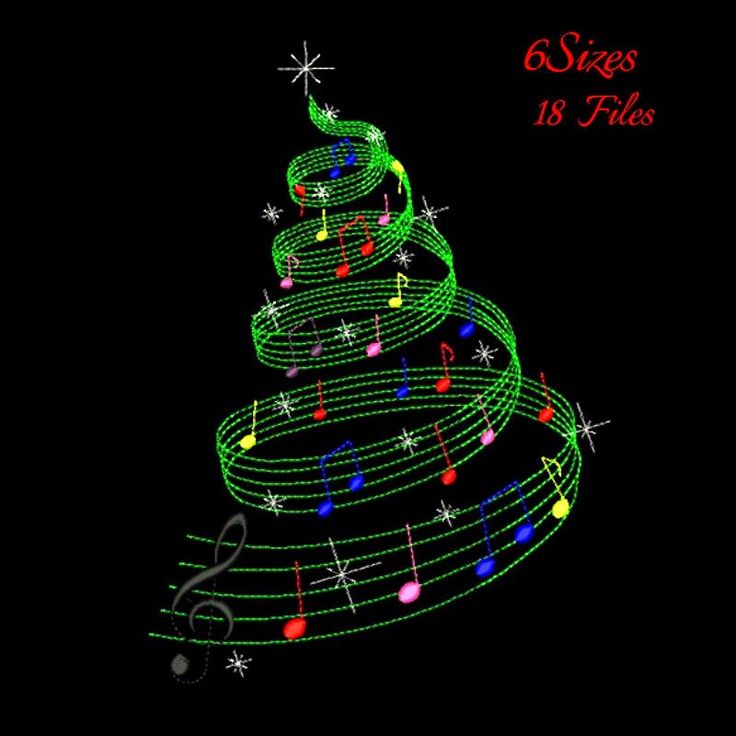 Christmas tree machine embroidery design designs instant digital download pattern gift holiday designs hoop file towel music notes by SvgEmbroideryDesign on Etsy