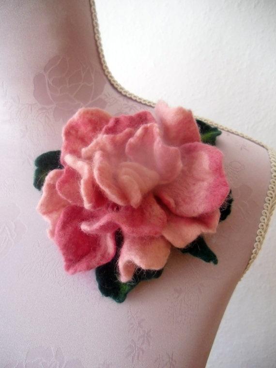 Needle felt flower brooch