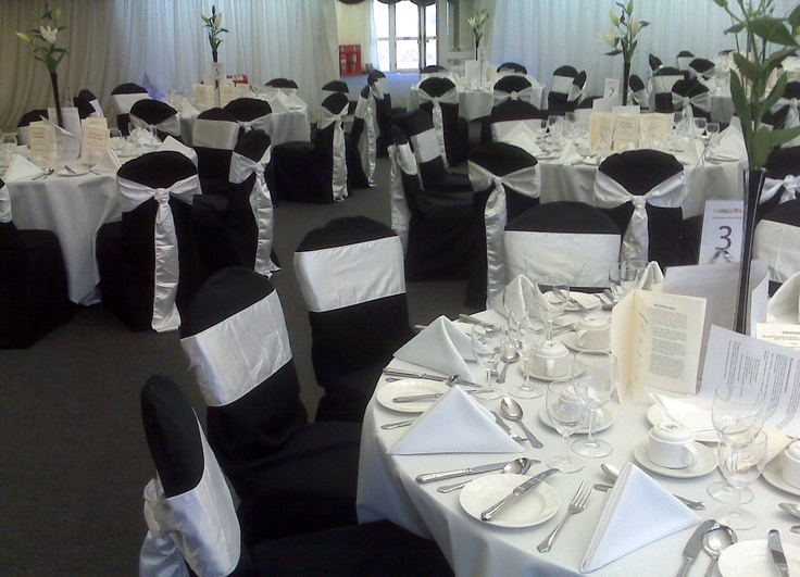 Black Chair Covers with White Satin Cravats