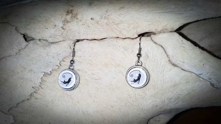 Made by Grievious-Black Cat Glass Cabochon Earrings