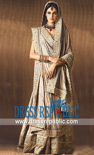 Beige Verock, Product code: DR3119, by www.dressrepublic.com - Keywords: Mehreen Syed Bridal Dresses, Mehreen Sayed Lehenga, Sharara, Gharara Bridal Couture Week
