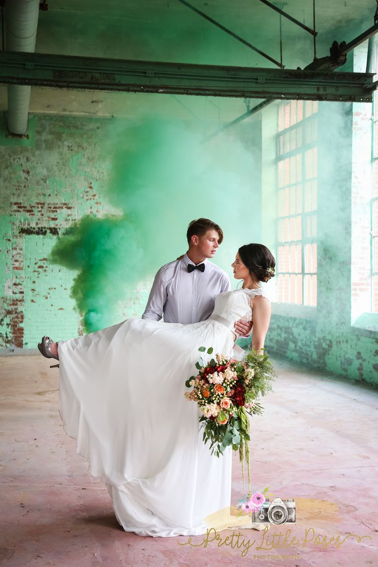 Styled Shoot. Smoke Bomb Wedding Pictures #prettylittleposes boho industrial wedding