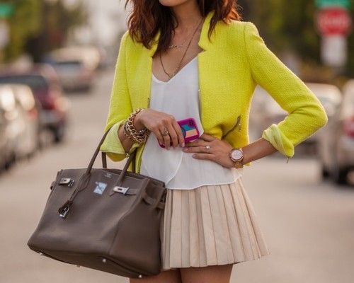 Refined Style: Light Pink Blazers, Birkin Bags, Hermes Birkin, Summer Skirts, Lights Color, Neutral Tones, Yellow Jackets, Yellow Blazers, Neon Yellow