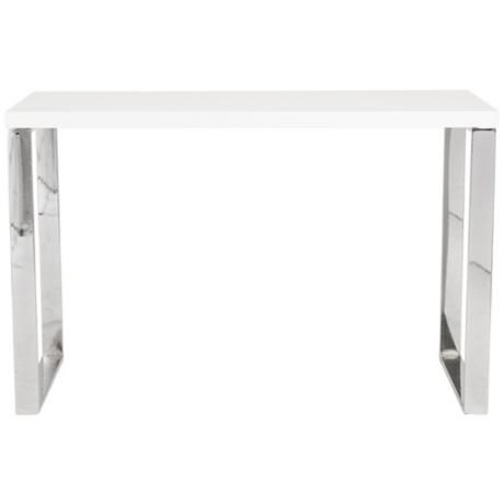 Dillon White Lacquer Stainless Steel Desk