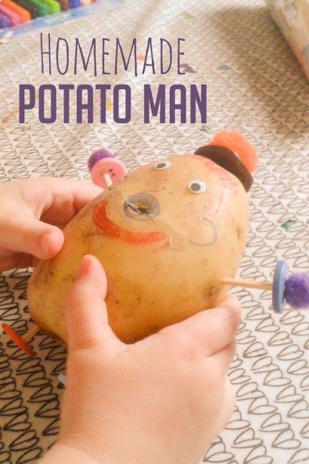 No Mr. Potato Head? Make your own Potato Man with a real potato!