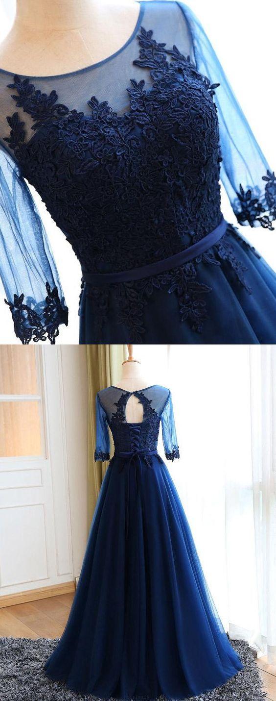 Cheap Sleeves Navy Evening Prom Dresses Popular Long A-line/Princess Applique Lace Up Dresses M1349