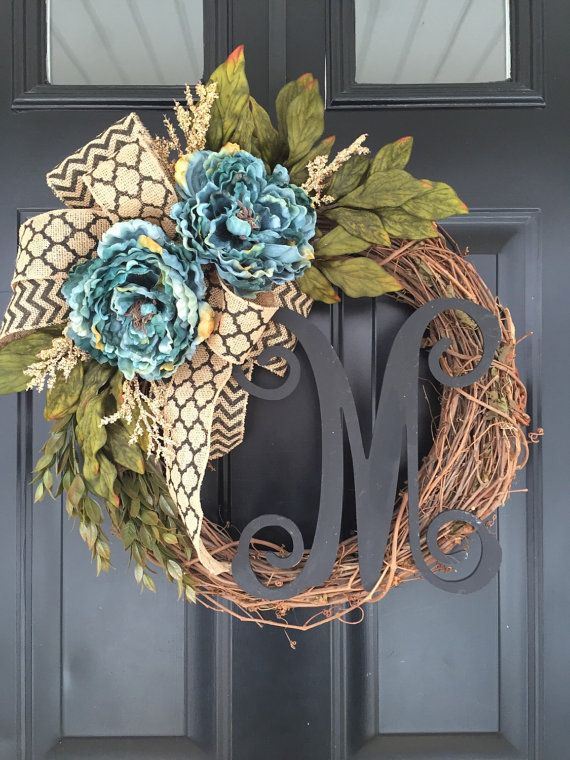 Hey, I found this really awesome Etsy listing at https://www.etsy.com/listing/264395312/blue-peony-black-chevron-monogram-wreath