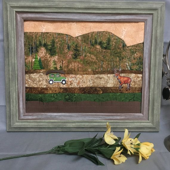 Framed Fabric art Wall hanging woodland scene heading for