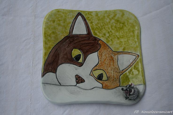 vassoietto/piatto decorazione gatto e topolino 3d in ceramica | plate decorated with cat and 3D mouse | handmade ceramic