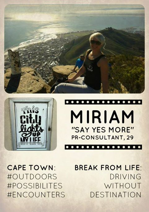 Wonderful testimonial from Miriam about her Cape Town experience. Take a Break from Life!! www.facebook.com/CT.TakeABreakFromLife