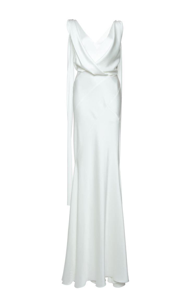 Draped Silk Satin Gown | Alberta Ferretti's P/F17 Collection at Moda Operandi.